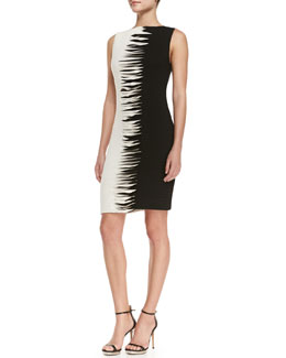 Nicole Miller Artelier Sleeveless Contrast Cross-Stitch Sheath Dress, Black/White