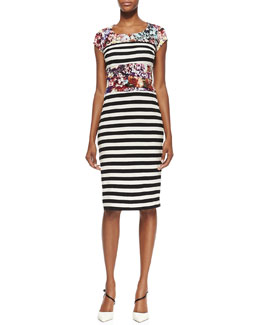 Nicole Miller Artelier Cap-Sleeve Flower & Stripe Print Dress, Multicolor