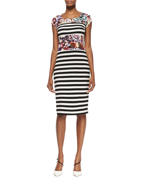 Cap-Sleeve Flower & Stripe Print Dress, Multicolor