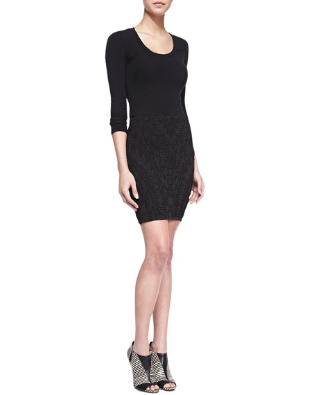 Fitted Jacquard-Print Miniskirt, Black
