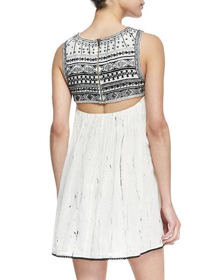 Southwestern Bib Open Back Mini Dress, Ivory