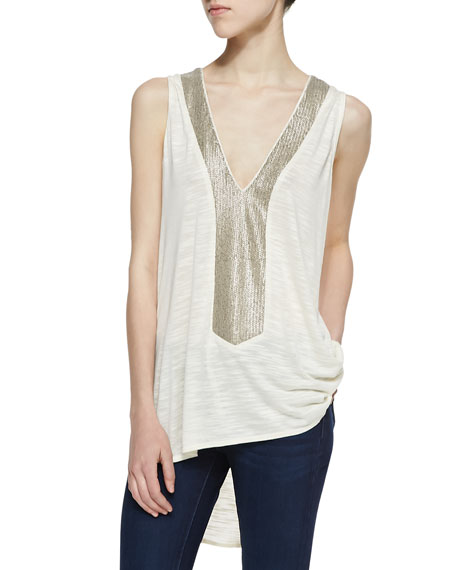 Dover Sleeveless Sequin Embellished Top, Cream