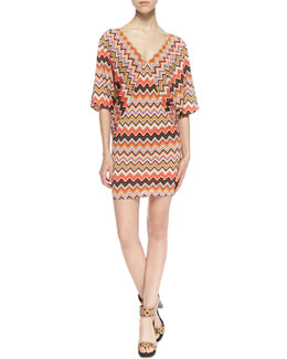 Trina by Trina Turk Patterson Three-Quarter Sleeve Zigzag Pattern Dress