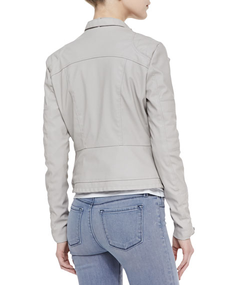 Faux-Leather Asymmetric Zip Moto Jacket, Taupe