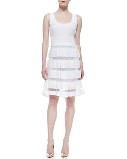Tracy Reese Easy Sleeveless Sheer Stripe-Skirt Dress, White