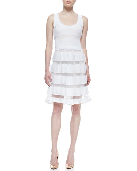 Easy Sleeveless Sheer Stripe-Skirt Dress, White