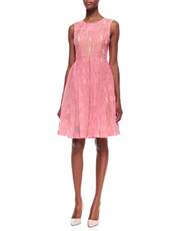 Tracy Reese Sleeveless A-Line Embroidered Frock, Blazing Coral
