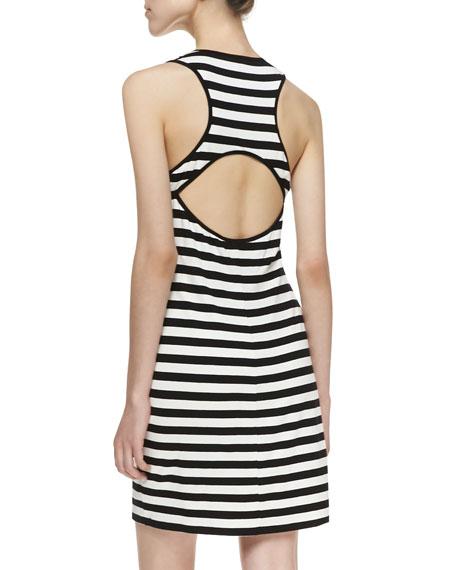 Anza Cutout Striped Tank Dress, Black/White