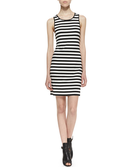Anza Cutout Striped Tank Dress, Black/White