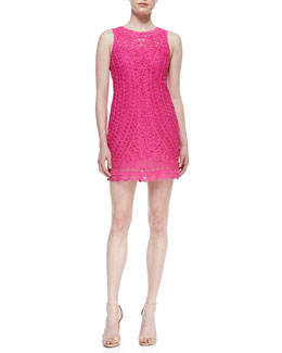 Yoana Baraschi Edwardian Web Sheath Dress, Fuchsia