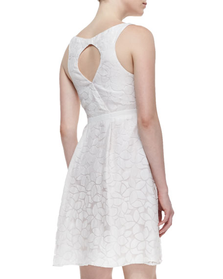 Sleeveless Aloe Flower Faux-Wrap Dress, Crystal White