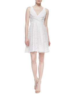 Yoana Baraschi Sleeveless Aloe Flower Faux-Wrap Dress, Crystal White