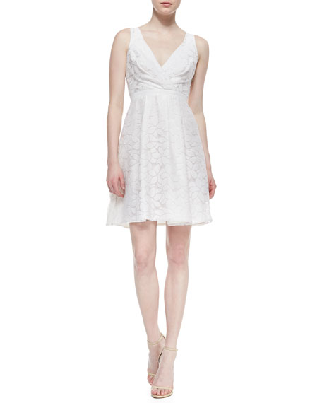 Sleeveless Aloe Flower Faux-Wrap Dress, Crystal White