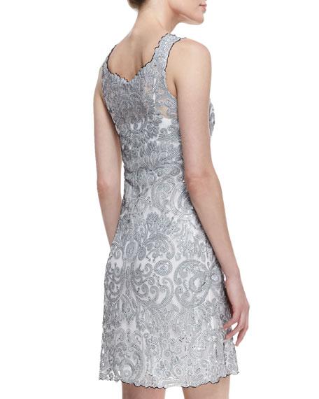 Sleeveless Liquid Light Sequined Dress, Silver
