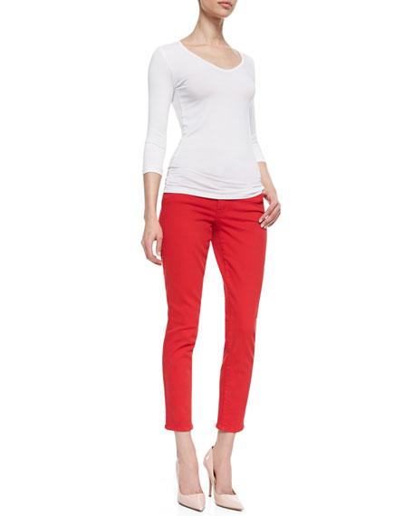 Wisdom Skinny Ankle Jeans, Red