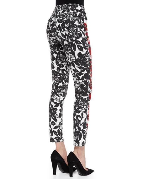 Wisdom Skinny Ankle Jeans, Black/Red