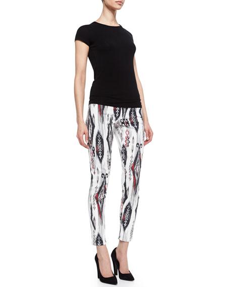 Wisdom Skinny Ankle Jeans, Black/White