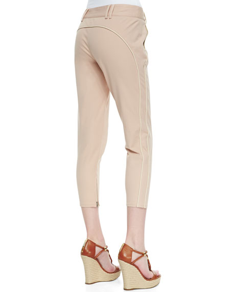 Piped Cropped Twill Trousers