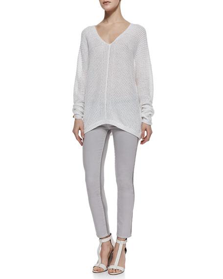 Ghost-Stripe Cropped Skinny Jeans, Stonewash