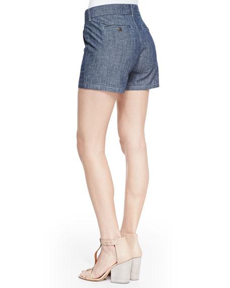 Chambray Continental-Pocket Shorts