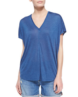 Vince Jersey V-Neck Top, Royal Blue