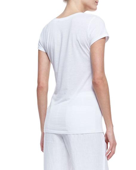Cotton Short-Sleeve V-Neck Tee, White