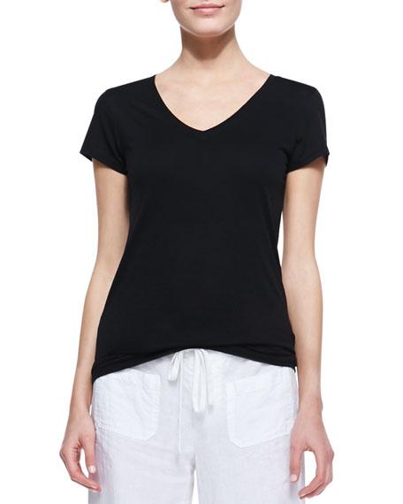 Cotton Short-Sleeve V-Neck Tee, Black