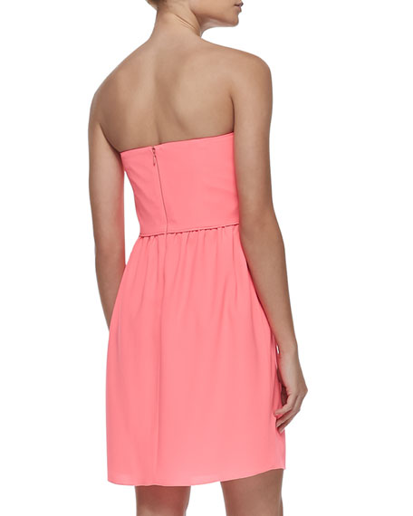 Zoya Strapless Ruched-Bodice Dress, Neon Pink