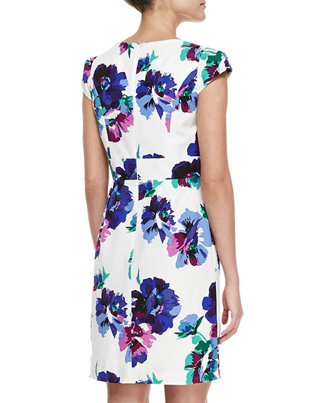 Evan Cap-Sleeve Floral-Print Dress, Multicolor