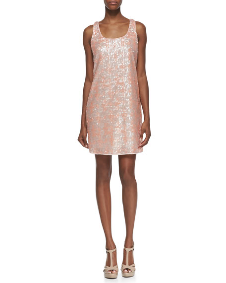 Sleeveless Sequin Cocktail Dress, Petal Coral