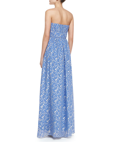 Jennifer Strapless Metallic Dot Gown, Periwinkle/Silver