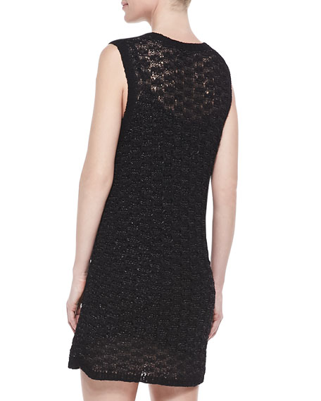 Crochet Crewneck Tank Dress, Black