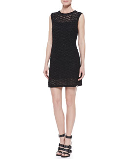 Theyskens' Theory Crochet Crewneck Tank Dress, Black