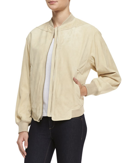Suede Zip-Front Track Jacket, Bone