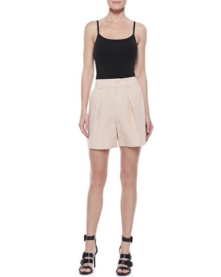 Mid-Length Pleated Shorts, Peach Rose