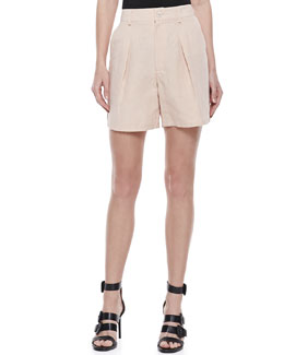 Theyskens' Theory Mid-Length Pleated Shorts, Peach Rose