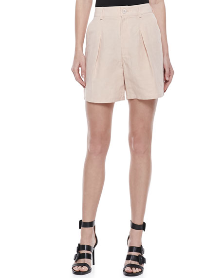 Mid-Length Pleated Shorts, Peach Rose