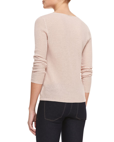 Knit Long-Sleeve Scoop-Neck Sweater, Sandy Pink