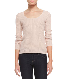 Theyskens' Theory Knit Long-Sleeve Scoop-Neck Sweater, Sandy Pink