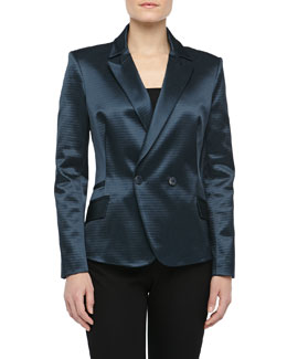 Theyskens' Theory Double-Breasted Tuxedo Jacket, Marine