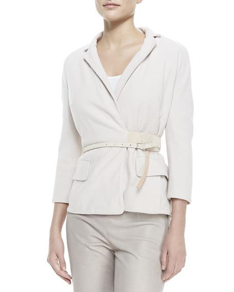 Crepe Wrap Belted Jacket