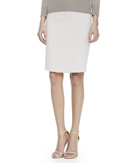 Wool-Blend Pencil Skirt, Camellia