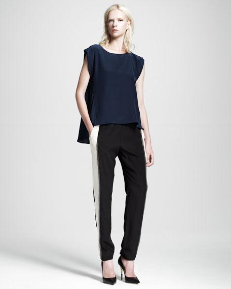 Colorblock Silk Track Pants