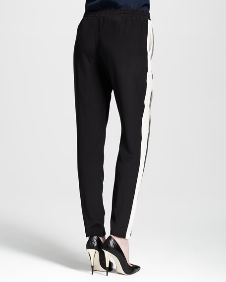 Colorblock Silk Track Pants