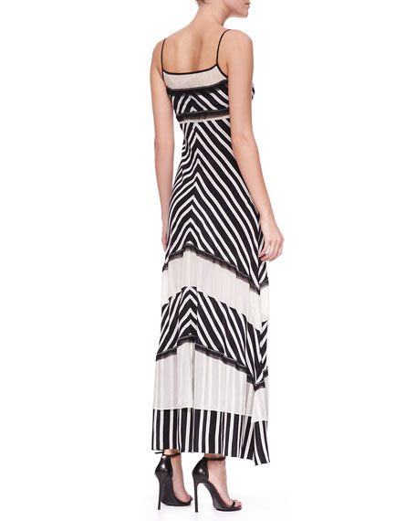Tiered Chevron-Stripe Maxi Dress