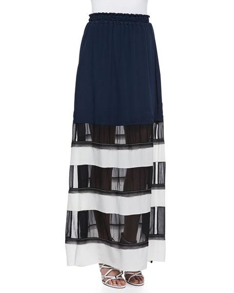 Soft Mesh-Panel Maxi Skirt