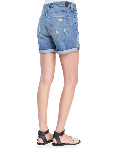 Distressed Denim Cuffed Boyfriend Shorts