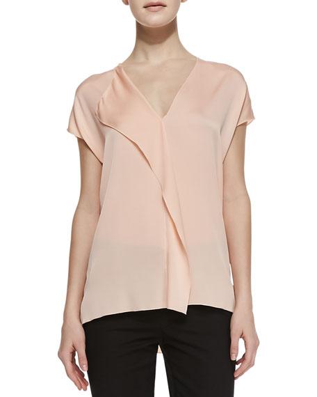 Silk Cascade Cap-Sleeve Blouse
