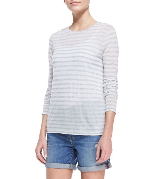 Long-Sleeve Striped Tee, Stonewash/White