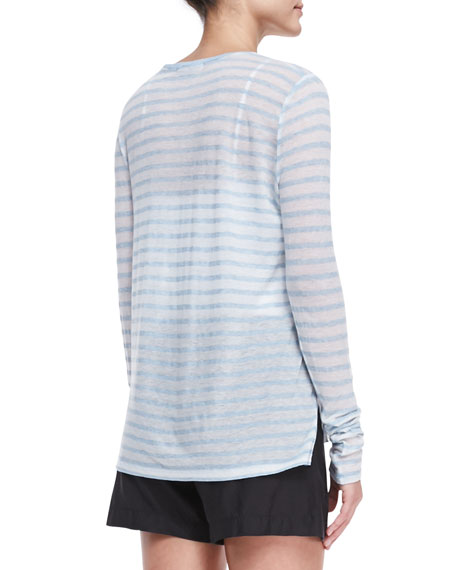 Striped Long-Sleeve Slub Tee